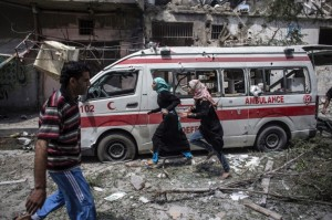 Gaza--bombed ambulance July 22 2014