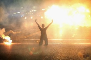 Ferguson tear gas woman August 22 2014