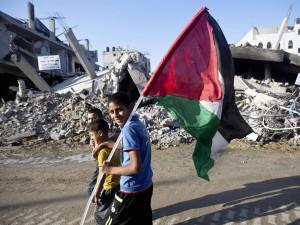 Gaza; Palestinian flag Augsut 29 2014