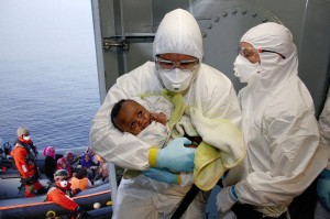 Infant immigrant in Med Sea (Sascha Jonack:German Armed Forces) May 16 2015