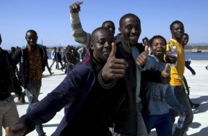 Africans landing in Sicily (Antonio Parrinello:Reuters) June 3 2015