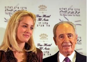 Sharon Stone & Shimon Peres in 2006 (Maan News.Moti Milrod)