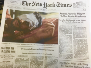 NY Times front page on Kashmir pellet guns