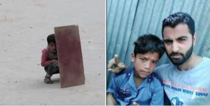 Cardboard boy and Zahid Shah