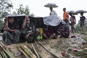 Ro refugees in monsoon rains (Paula Bronstein:Getty Images) Sept 20 2017