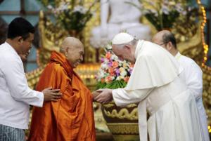 Pope meeting Buddhist Bhaddanta Kumarabhivasma in Burma (CNS:Max Rossi, Reuters) Nov 30 2017