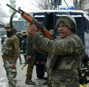 Indian soldiers on patrol in Kashmir (Soan Kashmir) Mar 7 2018