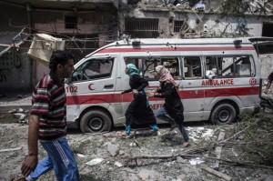 Gaza--bombed ambulance July 22 2014