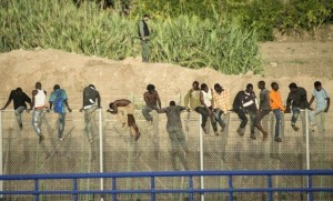 African immigrants at Melilla August 13 2014
