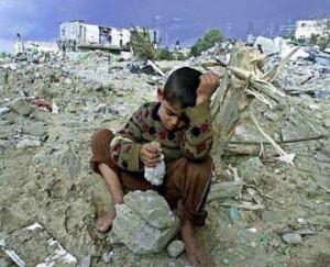 Gaza destruction & boy Mar 15 2015