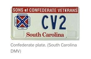 South Caroline Confederate flag license plate (June 19 2015)