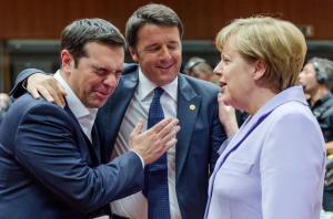 Tsipras, Merkel & Italian guy (Geert Vanden Wijngaert:AP) June 26 2015