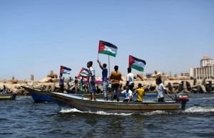 Gaza greeting flotilla (Mahmud Hams:AFP:Getty Images) June 30 2015