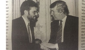 Gerry Adams and Donald Trump shake hands in New York in 1995. Photo- The Irish Voice