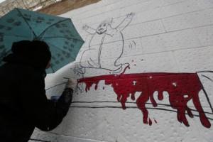 Yemen graffiti on Saudi embassy (Yahya Arhab:EPA) August 4 2015