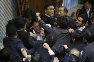 Japanese parliament on security bill (Eugene Hoshiko:AP) Sept 17 2015