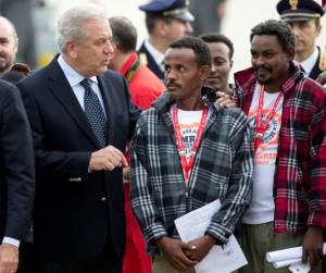 Eritrean refugees & Euro guy ( (AP Photo:Andrew Medichini)) Oct 9 2015