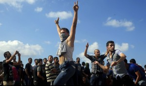 Gaza city protesters (Mohammed Abed:AFP:Getty Images) Oct 10 2015