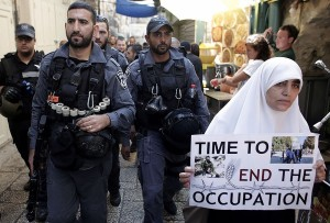Protests at Al-Aqsa (PHOTOGRAPH BY- AHMAD GHARABLI : AFP:GETTY IMAGES) Sept 30 2015