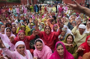 Women protest a rape in the Shopian district of Jammu and Kashmir in 2009. (Bilal Bahadur)