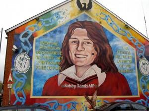 Bobby Sands in memorial mural along Falls Road, Belfast