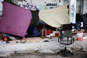 Athens, Greece makeshirt refugee tent (Alkis Konstantinidis:Reuters) May 7 2016