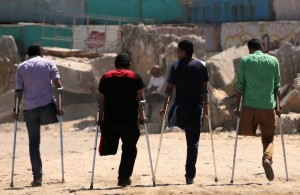 Disabled men in Gaza (Mohammed Saber:EPA) May 20 2016