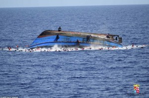 Capsized refugee boat (AFP:Getty Images) June 14 2016