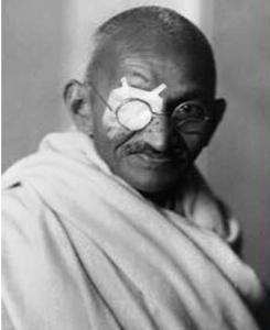 Gandhi with patch Mir Suhail
