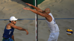 Male beach volleyball players