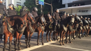 Mounted troops at Olympic protest (AJ) Aug 6 2016