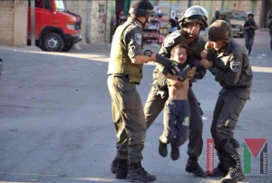 Three Israeli soliders vs tiny Palestinian boy- Aug 3 2016