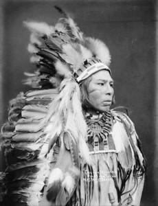 Indian chief--George Marshall. Umatilla. 1900. Photo by Lee Moorhouse.