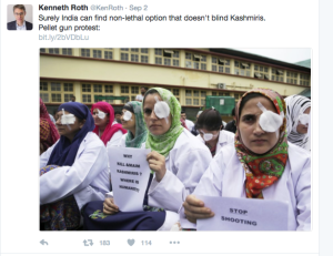 Kenneth Roth on Twitter re Kashmir and pellets