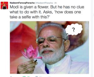 Modi given flower Sept 26 2016