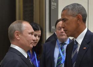 Putin & Obama putting on their made faces ( Alexei Druzhinin:AFP:Getty Images) Sept 5 2016
