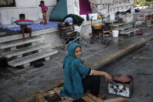 Refugees at Athens airport (Photo- Yorgos Karahalis:AP) Sept 4 2016