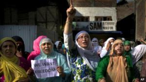 Women protesters Kashmir (AP)