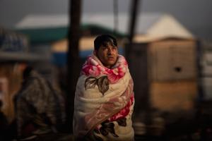 Calais Jungle- refugee nex to tent  (AP Photo:Emilio Morenatti) Oct 26 2016