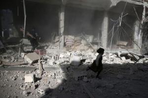 Douma Syria after airstrike (REUTERS:Bassam Khabieh) Nov 3 2016