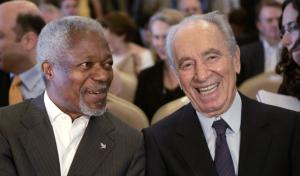 Kofi Annan and Shimon Peres in 2007 (AFP) Nov 18 2016