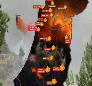 Map of Israeli fires Nov 27 2016