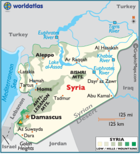 Map of Syria with cities