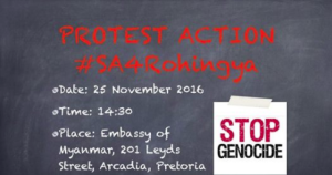 South Africa Rohingya protest Nov 21 2016