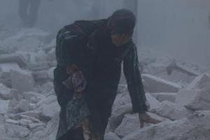 Injured woman in east Aleppo (REUTERS:Abdalrhman Ismail) Dec 8 2016