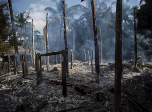 Smouldering debris of burned houses in Warpait village, a Muslim village in Maungdaw, Rakhine state, 14 October, 2016 AFP:Getty
