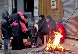 Syrians in Aleppo Fardos neighborhood Dec 14 2016 (AFP:Getty Images)