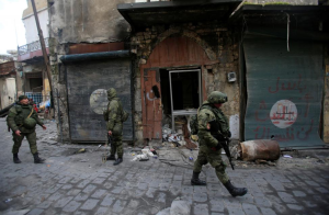 Russian foot patrols east Aleppo (REUTERS:Ali Hashisho) Feb 3 2017