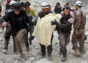 White Helmets rescue at US mosque bombing ((OMAR HAJ KADOUR : AFP:GETTY IMAGES)  Mar 19 2017