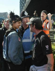 Muslim woman starring down fascist Apr 9 2017